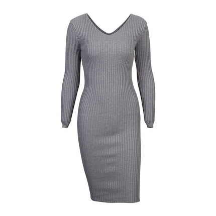 Bodycon Knitted Dress Women Double V Neck Sexy Long Sleeve Midi Dress Elegant Slim Sweater Dresses