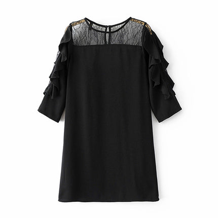 Women New Fashion Sexy Lace Half Sleeve Dress Ladies O-neck Mesh Mini Casual Black Dress