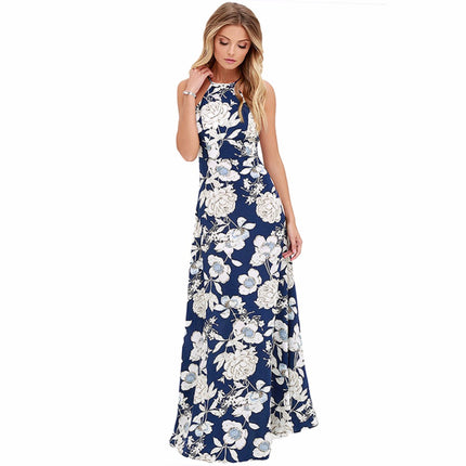 Vintage Floral Print Summer Long Maxi Dress Off Shoulder Sexy Women Causal Dress Beach Party Dresses
