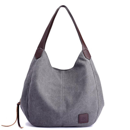 Women's Canvas Handbags High Quality Female Hobos Single Shoulder Bags Vintage Solid Multi-pocket