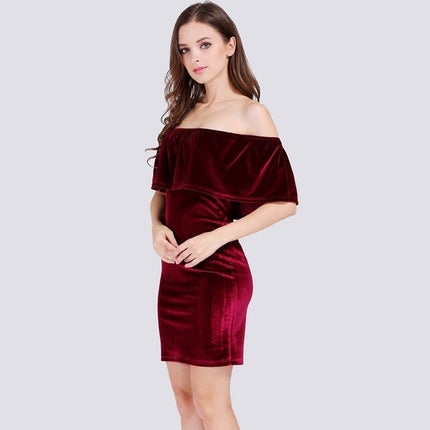 Velvet Bodycon Dress Ruffle Off The Shoulder Sexy club Women Short Sleeve solid color Mini Dress