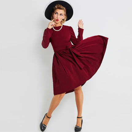 Vintage Dress Women A Line Solid Knee Length Long Sleeve Dress Pullover Elegant Fashion Dress