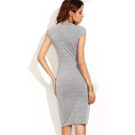 Grey High Neck Cap Sleeve Sheath Knee Length Dress Office Ladies Work Wear Slim Pencil Dress
