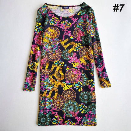 Print long Sleeve Crew Neck Sheath Knee Length dress Autumn spring casual Dresses Elastic Dress