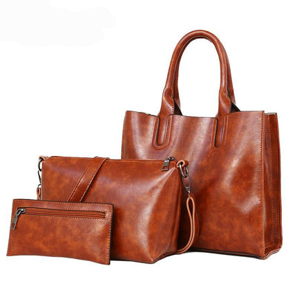 3pcs Set Oil Wax PU Leather Women Handbags Tote Crossbody Bag Vintage Shoulder Bag Sets