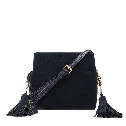women Suede PU Leather Tassels Shoulder Bag Crossbody Purse Female Flap Handbag