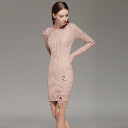 Women Sweater Full Sleeve Solid Lace Up Dress Slim Casual O Neck Knitted Mini Dress For Ladies