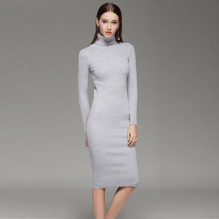Women Sweater Knitted Dresses Slim Elastic Turtleneck Long Sleeve Sexy Lady Bodycon Robe Dresses