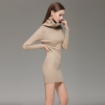 Turtleneck Long Knitted Sweater Dress Women Cotton Slim Bodycon Dress