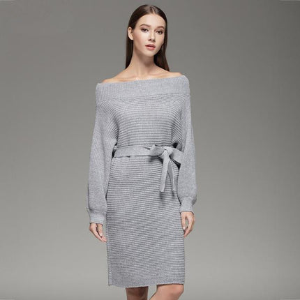 Women Strapless Off Shoulder Dress Slash Neck Sexy Women Long Batwing Sleeve Knitted Loose Sweater