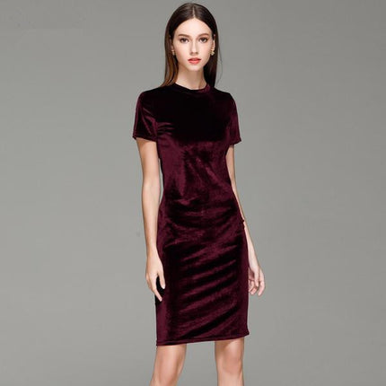 Short Sleeve Velvet Short Casual Women Dress Fashion Women Clothing Elegant Bodycon Party Dresses