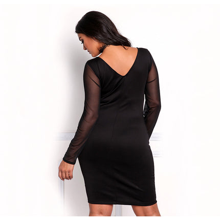 Bandage Dress V-neck Long sleeve Sexy Club Party Mesh Embroidery Plus Size Bodycon Dress 3XL Vestidos