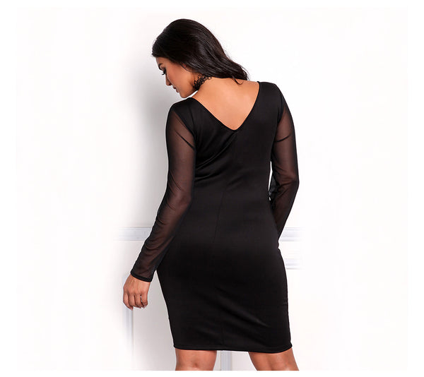 Bandage Dress V Neck Long Sleeve Sexy Club Party Mesh Embroidery