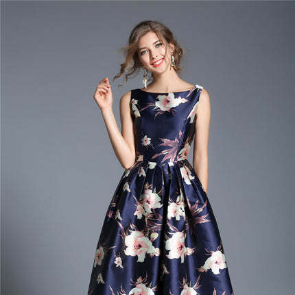 Fashion Sleeveless Printing Women Dress Elegant Vintage Big Swing Work Casual Long Dresses European Blue Vestidos