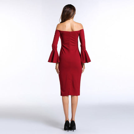 Elegant Long Flare Sleeve Dress Female Sexy Off Shoulder Office Bodycon Dress