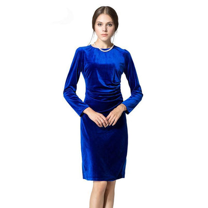 Fashion Velvet Dress Women Vintage Folds Pencil Office Long Sleeve Dress