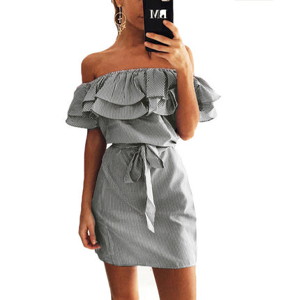 Casual Off Shoulder Striped Mini Dress Fashion Sky Blue And White Ruffles Strapless Sexy Women Beach Dress