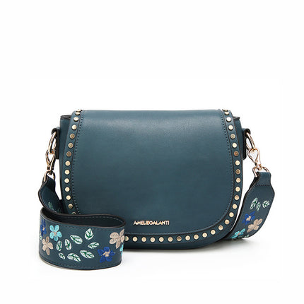 Trendy Lady Shoulder Bag Small Hard Long Straps With Embroidery