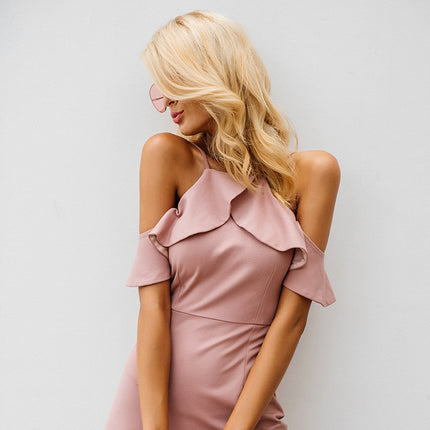 Strap cold shoulder ruffle winter dress women Sexy backless split dress elegant party dresses