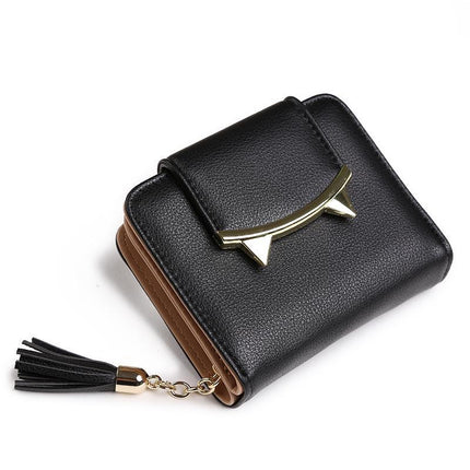 fashion tassels style cute Women Short Wallet with Metal Hasp Lock Change Purse multi Card Holder