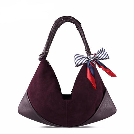 Large Slight Women Hobo Suede PU Leather Shoulder Bag Leisure Shopping  Handbag