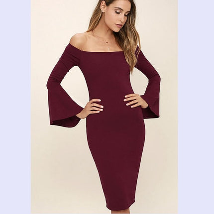Women Autumn Elegant Flare Bell Sexy Off Shoulder Vintage Wear To Work Office Business Cocktail Party Bodycon Pencil Dress