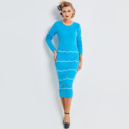 Sweater Bodycon Dress Fashion Lady Blue O-neck New Vintage Dress Knee-length Sweater Dress