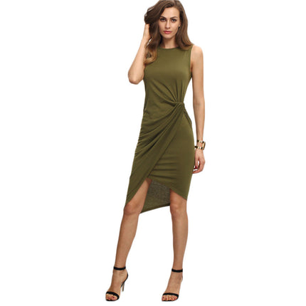 Female Army Green Sleeveless Knot Sheath Dress Asymmetrical Round Neck Sleeveless Wrap Knee Length Dress