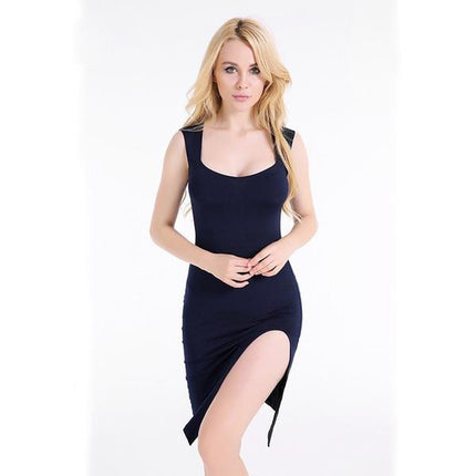 Women Dress Side Slit Sexy Club Bodycon Dress Elegant Black Dress Midi Party Dress Vestidos Sexy Robe