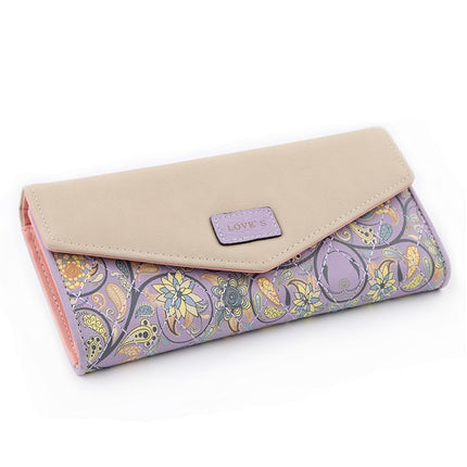 Fashion Flower Women Purse Embroidery High Quality PU Phone Wallet