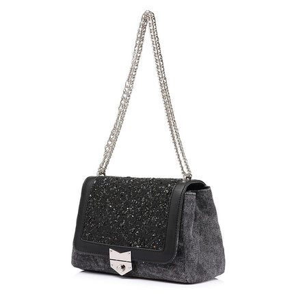 chain shoulder bag female fashion canvas handbags messenger bags with high quality diamonds