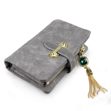 Gorgeous Women Wallets Diamond Tassel Luxury Card Wallet Gemstone PU Purse