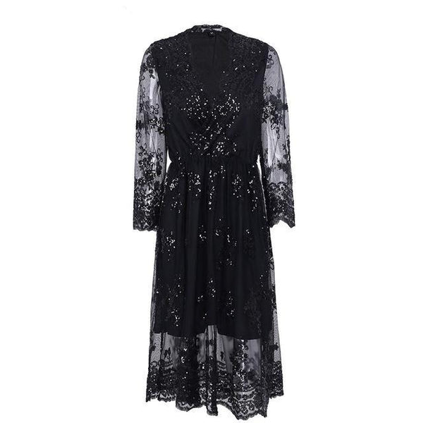 V Neck Long Sleeve Sequin Party Dresses Women Sexy Mesh Streetwear Christmas Midi Dress Female Vestido