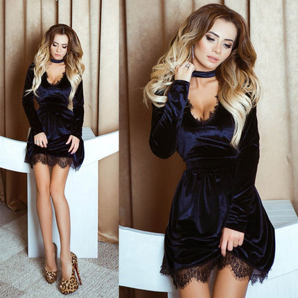 Vintage Style Sexy Casual Mini Velour Dress Women Lace Velvet Dress Halter Deep V-Neck Long Sleeve Lace Dress