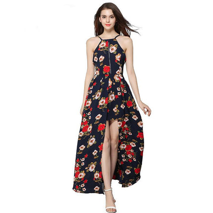 Elegant Sexy Backless Print Chiffon Maxi Dress For Women Party Dresses
