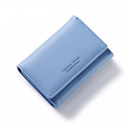 Elegant Women PU Leather Wallet Portable Multifunction Short Solid Color Change Purse