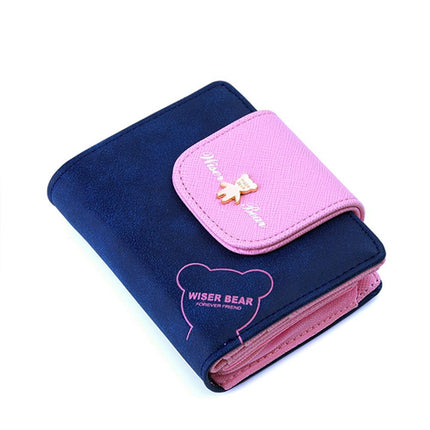 Lovely Bear Wallet Female PU Leather Small Change Clasp Purse Money Coin Card Holder