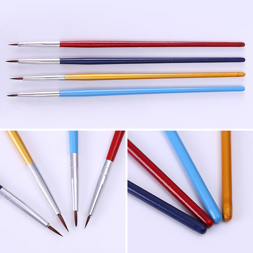 4Pcs Acrylic Gel Nail Art Drawing Brush Nail Art Tools