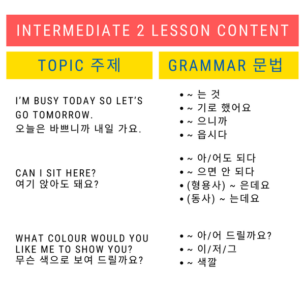 INTERMEDIATE 2 - HANOK Korean Language School