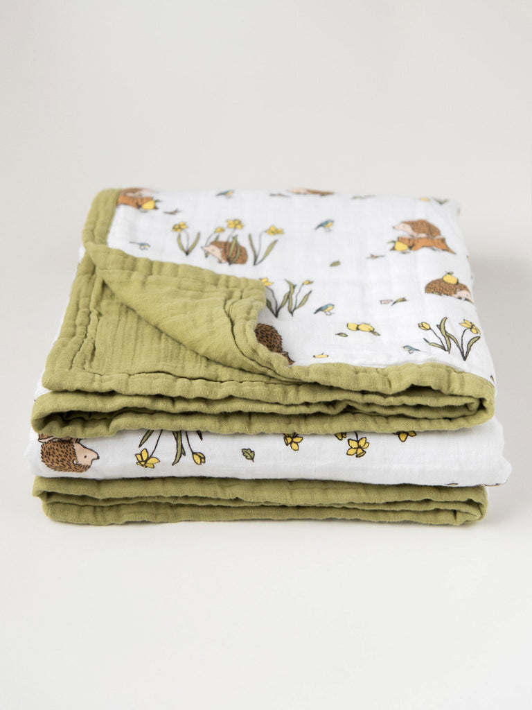 Cotton muslin quilt front fold detail woodland hedgehog