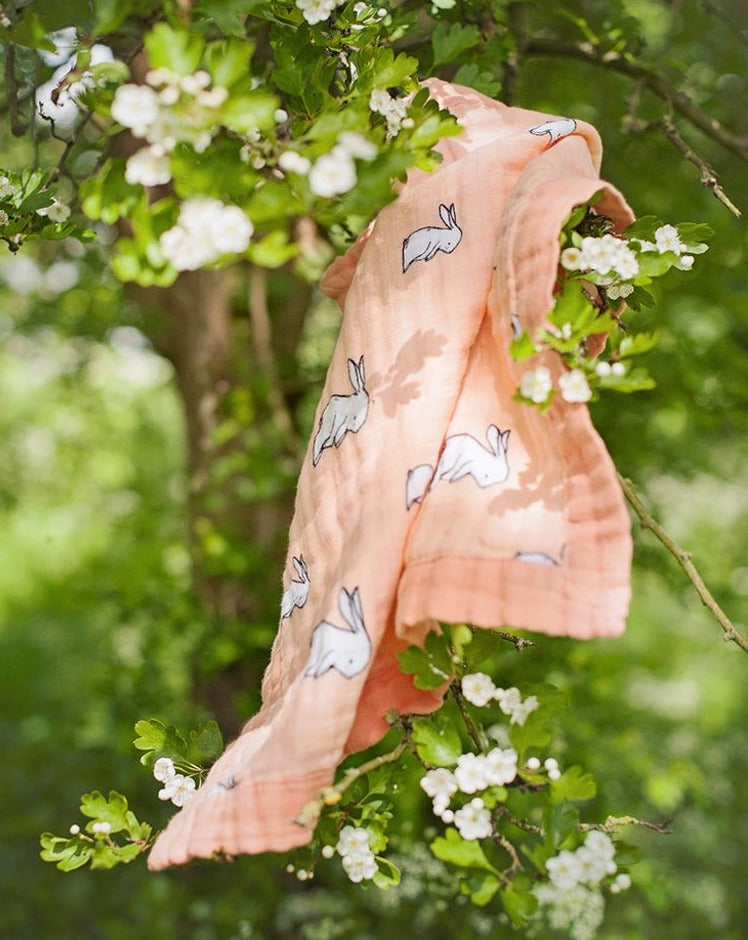 Little blue nest - Organic cotton muslin security blanket comforter- hang in blossom tree - long ear bunny