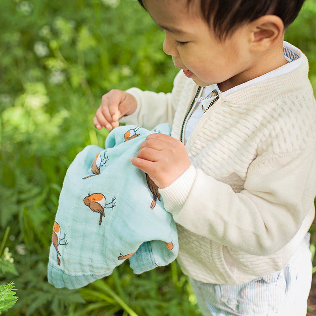 Organic cotton muslin security blanket comforter - small hand details - little robin - Little Blue Nest