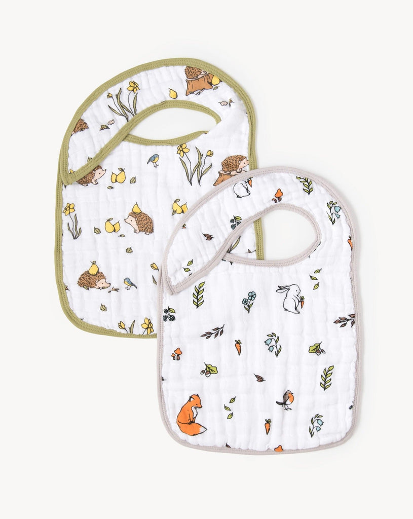 Organic cotton muslin snap bibs - Into the woods + Woodland hedgehog