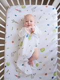 Organic cotton muslin fitted cotbed sheet - In the garden