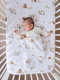 Organic cotton muslin fitted cotbed sheet, 140 x 70 cm - Woodland hedgehog