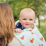 Organic cotton muslin swaddle blanket - Mum and baby snuggle - Gentle fox - Little Blue Nest