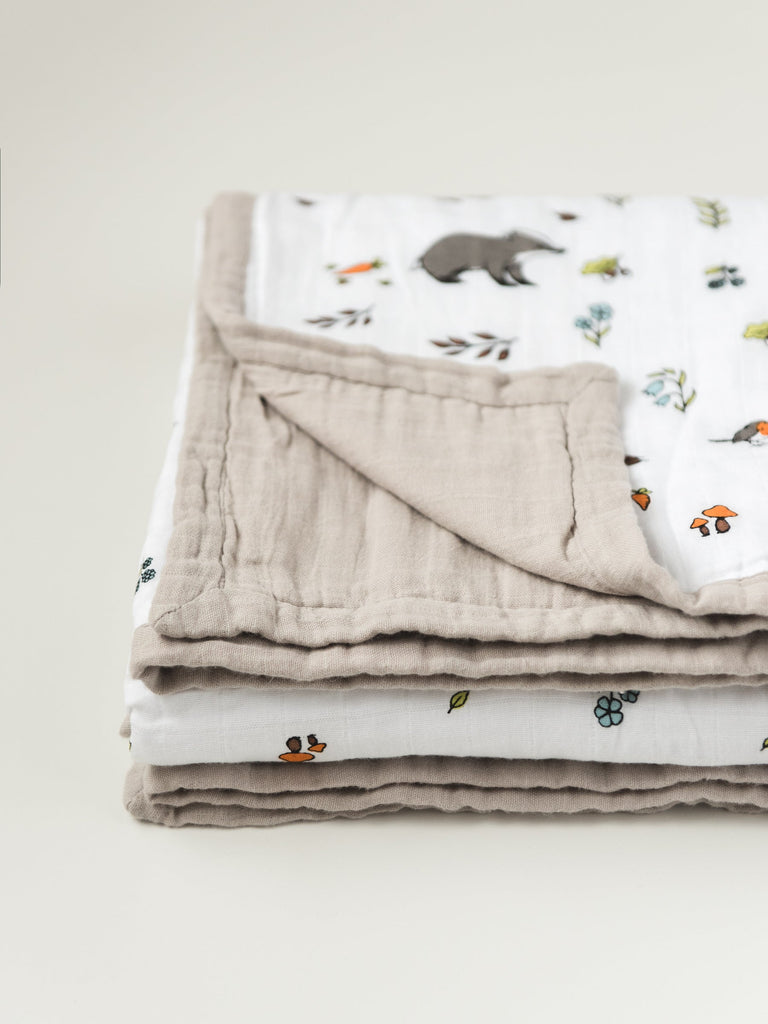 Little Blue Nest - Edge detail - Organic cotton muslin dream blanket quilt into the woods