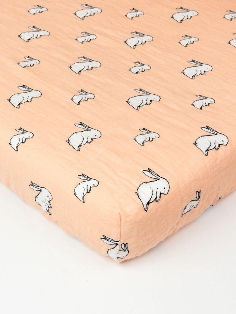 Organic cotton muslin  fitted crib cotbed sheet - Corner angle - Long ear bunny- Little Blue Nest