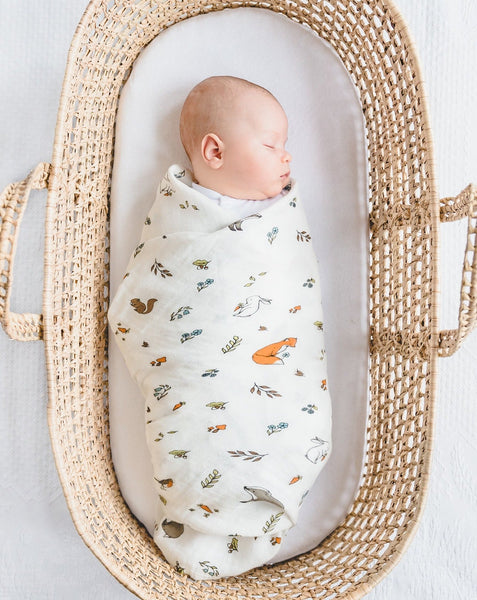 Organic cotton muslin swaddle blanket large - Into the woods – Little Blue  Nest 24222c144