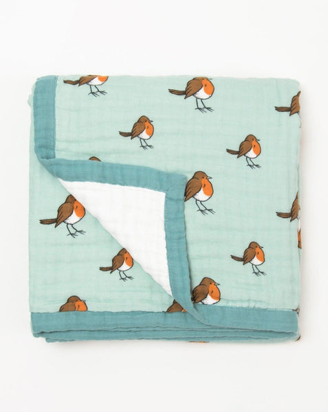 Organic cotton muslin dream blanket quilt little robin - 4 layers - Little Blue Nest
